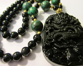 Black Obsidian Mythical Dragon Pendant with Green Malachite and Black Agate Bead Necklace, 22""