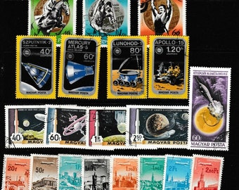 33 Hungary Commemorative Postage Stamps - Airplanes, Space, History of Flight, Olympics  Perfect for Altered Art, Collage, Handmade Cards