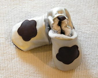 baby booties 0-6 months flower