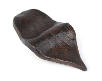 Very Deep Maroon Ceramic Leaf Magnet - handbuilt earthenware deep maroon black leaf magnet home decoration gift pottery magnet