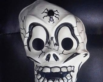 SKULL - Vintage HALLOWEEN MASK - Collegeville Costumes / Ben Cooper - Skeleton, monster