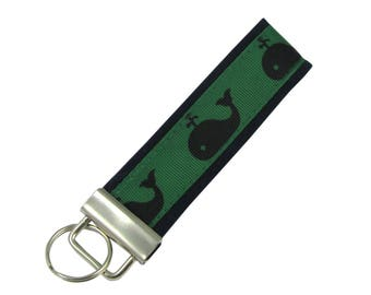 Personalized Key Chain / Key Fob Blue and Green Whales With Optional Initials