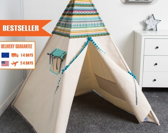 Children Teepee Tent, Kids Teepee Tent, Indian Teepee, Wigwam Kids Playhouse from Cozydots made in UE, INDIAN