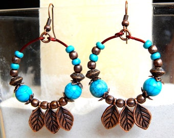 Ethnic earrings, turquoise and copper beads