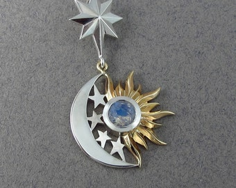 ECLIPSE - SUN and MOON 14k gold and silver pendant with Moonstone