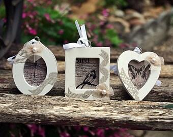 Trio of mini frames to hang