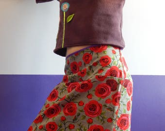 XL red roses print cotton skirt