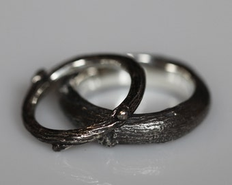 Willow twig ring set, sterling silver, wedding set, made to order, your size