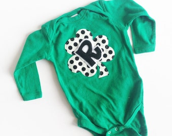 St. Patrick's Day Green Shamrock Initial One Piece for babies and kids