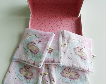 Washable wipes - wipes baby - pink unicorns pattern