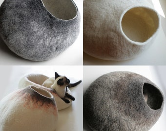 ASK for Custom felted Cat Bed OOAK Hand Felted Wool Cat Bed / Vessel / Furniture / Cat Nap Cocoon Crisp Contemporary Design One of the Kind