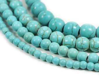 """Turquoise Howlite Stone Beads 4mm 6mm 8mm 10mm, 15.5"""" Full Strand, Wholesale"""
