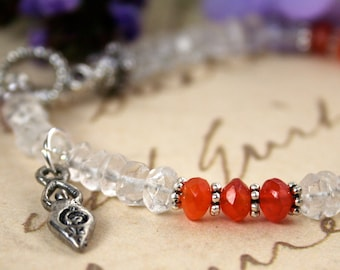 Fertility Bracelet,  with Fertility Blessing,  Carnelian and Quartz Crystal