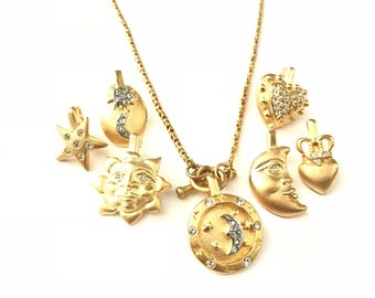 Vintage 18k Gold Plated Interchangeable Charm Necklace // Celestial Sun Moon Stars Hearts Charm Necklace // Interchangeable Charms