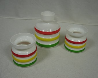 60s 70s Three VASES hooped white Glas with color rings in green, red, yellow, by INGRID Germany