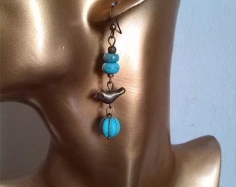 Birds and turquoise beads earrings