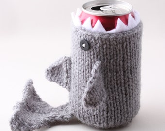 Shark, Geeky, Shark Week, Gift for Teacher, Gift for Student, Friends, Gift for Boyfriend, Beer Cozy, for Dad, Knitted, Father's Day