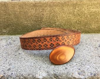 Leather Belt, Tooled Leather Belt, Vintage Belt Buckle, Belt and Buckle, Vintage Leather Belt, Mens Belt