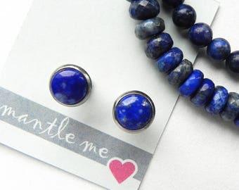 Stud Lapis Lazuli earrings Circle 9 mm Genuine stones dark blue Stainless Steel Light and comfortable earrings Minimalist Available set