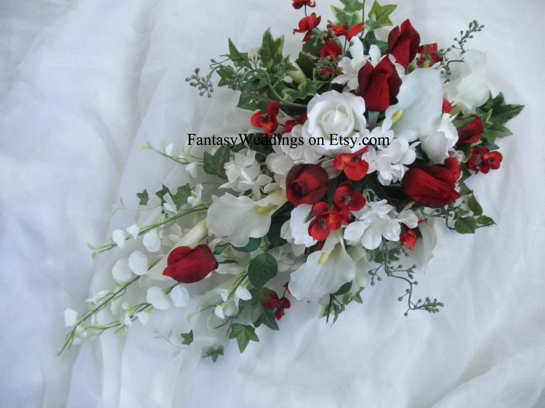 Cascade Bridal Wedding Bouquet. 2 pc set. Red and White Silk
