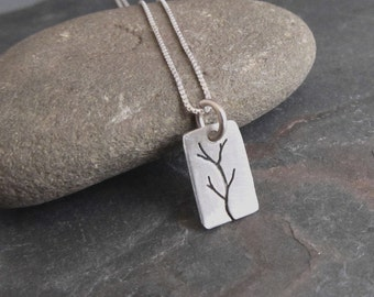 Sterling Silver Branch Necklace - tree necklace - tree of life