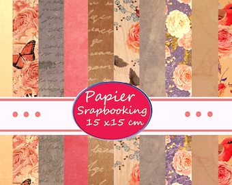paper for scrapbooking, homedeco 20 vintage sheets 15 x 15 cm, different designs
