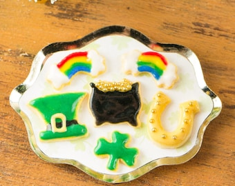 Miniature St. Patrick's Day Cookies on Tray - 1:12 Dollhouse Miniature