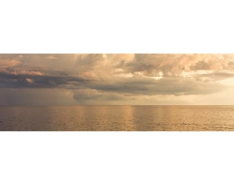 Ocean Panorama Photograph - 10x30 Fine Art Photography Print - Golden Sea No. 8724