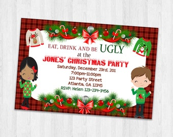 Christmas Party invitation, ugly sweater invitation, Holiday invitations, Xmas sweater invites, Printable Holiday Invites
