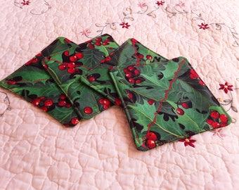 Holly Fabric Coasters, Handmade Christmas Coasters, Set of 4 Coasters
