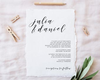 Wedding Invitations, Printable Wedding Invitations, Calligraphy Wedding Invitations, Modern Invitations, Minimalist Wedding Invitations