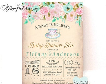 Baby shower tea party invitation a baby is brewing garden pink mint gold baby shower tea party invitation a baby is brewing floral tea party baby shower invitation printable or printed no1420baby filmwisefo