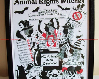 Animal Rights Witches ~ A high quality, framed and enhanced A4 print of an original drawing by ©Helen Zwerdling ~ Hells Belles Art