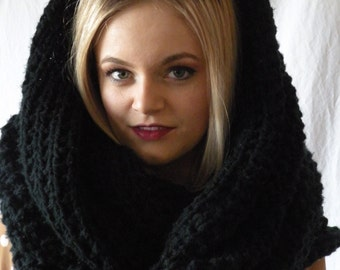 Long Oversized Chunky Snood Knit Infinity Scarf Black Cowl
