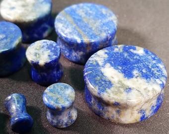 Pair of Lapis Lazuli Plugs / Gauges For Stretched Ears (25mm, 22mm, 19mm, 16mm, 14mm, 12mm, 10mm, 8mm, 6mm, 5mm, 4mm, 3mm)