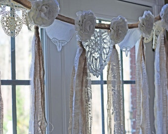 Handmade Wedding Garland, Flower Bunting, Burlap and Lace, Vintage Doily Banner, Tattered Rose Photography Backdrop