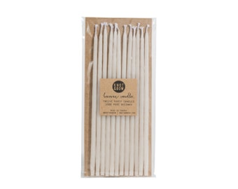 Tall Hand-dipped Beeswax Birthday Candles / Ivory