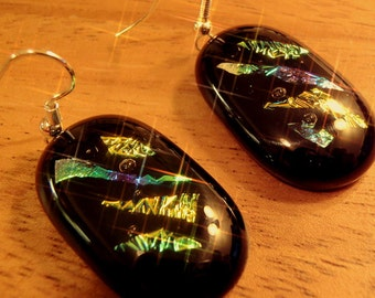 Fused dichroic and black glass earrings.