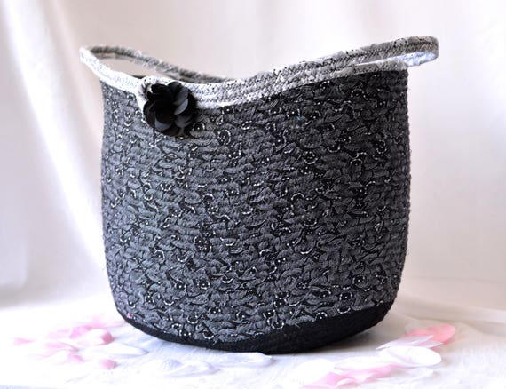 Black Storage Basket, Handmade Coiled Fabric Basket, Artisan Black and White Home Decor, Yarn Holder, Sewing Project Bin