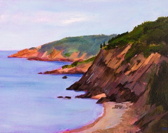 Seascape Painting. East Coast Cliffs. Nova Scotia. Wall Decor.