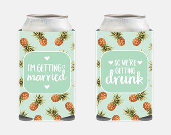 Bachelorette Party Favors Pineapple Bachelorette Favors Pineapple Wedding Favors Pineapple Wedding Gift Ideas Wedding Can Coolers Mint