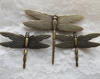 Vintage gold plate brass stamped dragonflies,2 sizes,3pcs-KC192
