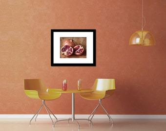Retro kitchen art, pomegranate photo, rustic kitchen wall art, fruit fine art photography, still life food art, brown red, wall decor print