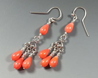 Beautiful Coral and Sterling Silver Earrings