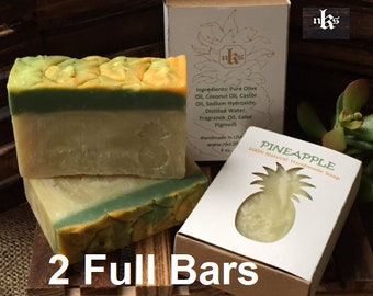 Pineapple soap. Natural handmade soap. Artisan soap. Cold process soap. 2 Soap bars.