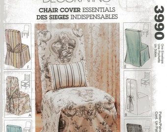 McCall's Home Decorating Pattern 3990 Ladder Back/Parson's CHAIR COVERS