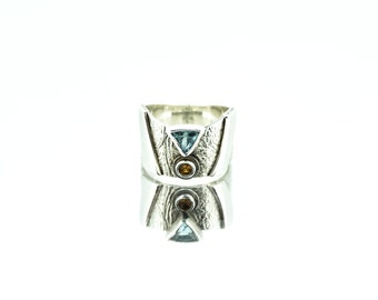 Ancient Greek Style Ring, Trillion Topaz & Round Sapphire Ring, Sterling Silver Ring, Textured Ring, Sapphire