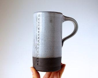 Asana Mug in Cream White, READY TO SHIP, Wheel-Thrown and Hand-Dipped Pottery Mug