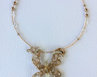 Crystal beads butterfly necklace, vintage necklace, romantic Tucala Lanzarote  necklace, crystal chips beaded necklace