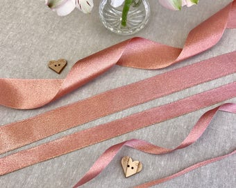 "Rose Gold Ribbon - SPARKLE SATIN 1/8"" 3/8"" 5/16"" 1"" 1 1/2"" - 1/3/5/10m Lengths - Wedding Invitation - Cake Embellishment - Bridal Shower"